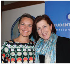 In partnership with Students on Ice, Danish Ambassador Hanne Fugi Eskjaer hosted an Arctic evening reception at her residence. From left: Eskjaer and Alison LeClaire, Canada's ambassador to Russia. (Photo: Ülle Baum)