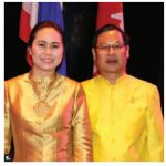To celebrate Thailand's National Day and the birthday of the late King Bhumibol Adulyadej, Thai Chargé d'Affaires Thanapol Wang-Om-Klang and his wife, Kotchason Wang-Om-Klang, hosted a reception at the Canadian War Museum. (Photo: Ülle Baum)