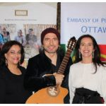The embassy of Portugal and the Aga Khan Development Network's Diplomatic Office hosted a concert by Remigio Pereira, a founding member of The Tenors, at the Delegation of the Ismaili Imamat. From left: Mahmoud Eboo, Ottawa's resident representative of the Aga Khan; his wife, Karima Eboo; Remigio Pereira, Claudia Pereira and her husband, João Paulo Costa, Portuguese Embassy counsellor and deputy head of mission, after the show. (Photo: Ülle Baum)