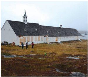 TheHebronMissionChurchwas built starting in 1829. Prefabricated inGermanyby the Moravians, it was shipped to the site in northernLabrador.The Moravians abandoned the site in 1959, leaving behind many Inuit families who had moved to this location. (Photo: Mike Beedell)