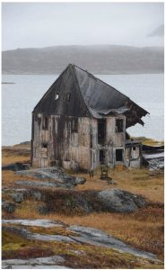 Derelict buildings collapsed from age at the Moravian Mission in Hebron Fjord, Labrador. (Photo: Mike Beedell)