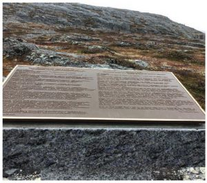 This plaque in Hebron, presented by then-Newfoundland and Labrador premier Danny Williams is one of three. It carries the Inuit message of foregiveness for the suffering from Hebron and Nutak forced relocations. (Photo: Mike Beedell)