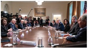 U.S. President Donald Trump meets with members of the banking industry to discuss the effects COVID-19 has had.  (Photo: White house)