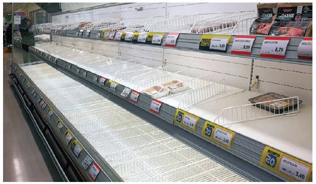 Grocery store shelves, such as these at EsseLunga in Bergamo, Italy, were cleared out early in the pandemic as people hoarded staples. (Photo: NICK.MON)