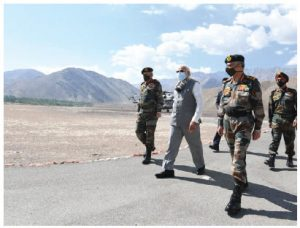 Indian Prime Minister Narendra Modi visited the China-India border in early July, during the spat between China and India. (Photo: Prime Minister's office, India)