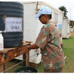 A woman from the United Nations' stabilization mission in the Democratic Republic of the Congo washes her hands as part of measures to slow the spread of COVID-19 in the country. Africa has fared better than other continents in stemming the pandemic, partly due to strict lockdown measures. (Photo: MONUSCO)