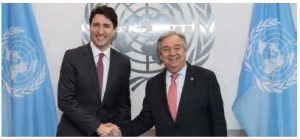 United Nations Secretary-General António Guterres met with Prime Minister Justin Trudeau in New York in 2017. (Photo: UN PHOTO)