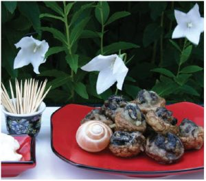 Escargot-stuffed Mushroom Tempura. (Photo: Margaret Dickenson)