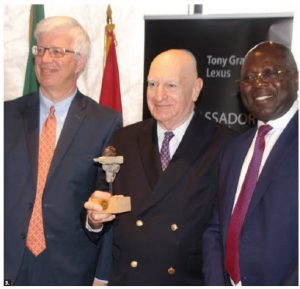 Lawrence Lederman, co-ordinator of Carleton University's Ambassador's Speakers Series, received an award. From left: Pierre Thibault, assistant dean of civil law, Lederman and Anu' A-Gheyle Azoh-Mbi. (Photo: Ülle Baum)