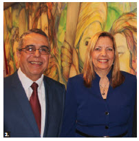Cuban Ambassador Josefina de la Caridad Vidal Ferreiro hosted a reception to mark the 75th anniversary of diplomatic relations between Cuba and Canada and the visit of Marcelino Medina González, Cuban first deputy minister of foreign affairs. From left: Gónzalez and Vidal Ferreiro.