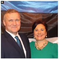 On the occasion of Estonia's independence day, Ambassador Toomas Lukk and his wife, Piret, hosted a reception at the Rideau Club. (Photo: Ülle Baum)