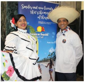 To mark the 176th anniversary of the independence of the Dominican Republic, Ambassador Pedro Vergés hosted a reception and art show at Ottawa City Hall. These dancers, in traditional costumes, took part in cultural performances. (Photo: Ülle Baum)