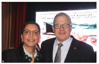 To mark Kuwait's 59th national day, Ambassador Reem Alkhaled hosted a reception at the Fairmont Château Laurier. From left: Alkhaled and Veterans Affairs Minister Lawrence MacAulay. (Photo: Ülle Baum)