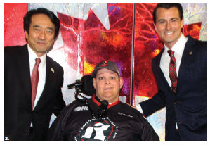 Japan Day, a Paralympics promotional event, was held at TD Place arena. The event was organized in collaboration with the Embassy of Japan, the Canadian Cerebral Palsy Sports Association, the Ontario Cerebral Palsy Sports Association, Boccia Canada, the Canadian Paralympic Team and the Ottawa Japanese Community Association and Cultural Centre. From left: Japanese Ambassador Yasuhisa Kawamura, Ottawa Boccia athlete Bryce Desrochers and MP Adam van Koeverden. (Photo: Ülle Baum)