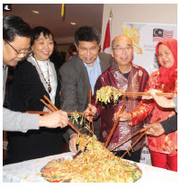 Malaysian High Commissioner Dato' Nor'Aini Abd Hamid hosted a Chinese New Year celebration at her residence. From left: Thai chargé d'affaires Thanapol Wang-Om-Klang, Philippines Ambassador Petronila Garcia, Brunei High Commissioner PG Kamal Bashah PG Ahmad; Henry Lee, honorary consul of Malaysia in Toronto; and the high commissioner. (Photo: Ülle Baum)
