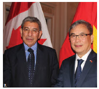 The Embassy of Vietnam hosted a reception at the Fairmont Château Laurier to bid farewell to Ambassador Nguyen Duc Hoa and his wife, Tran Nguyen Anh Thu. From left, Jonathan Fried, associate deputy minister at Global Affairs Canada, and Nguyen Duc Hoa. (Photo: Ülle Baum)