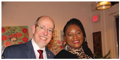 To promote South African wines and tourism, the South African High Commission co-hosted a wine-tasting reception and dinner with the Opimian Society at Orange Art Gallery. From left, Ian Myles, director-general of the Southern and Eastern Africa Sub-Saharan Africa Branch at Global Affairs Canada, and High Commissioner of South Africa Sibongiseni Yvonne Dlamini-Mntambo. (Photo: Ülle Baum)