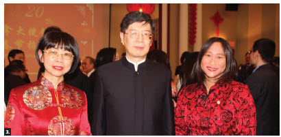 Chinese Ambassador Peiwu Cong and his wife, Tong Zhang, hosted a Chinese New Year celebration and concert at the embassy. Zhang, Cong and Liberal MP Jean Yip attended. (Photo: Ülle Baum)