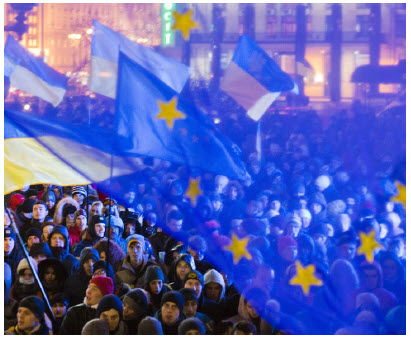 In Ukraine, shown here during a pro-European Union demonstration in 2013, new democratic institutions that were established in the aftermath of successive revolutions continue to be imperilled by cronyism. (Photo: Evgeny Feldman)