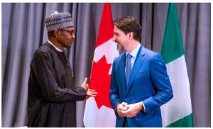 Nigerian President Muhammadu Buhari and Prime Minister Justin Trudeau met on the margins of the 33rd OAU Summit in Addis Ababa in February 2020. (Photo: @ NGRPresident)