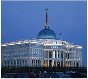 The Ak Orda Presidential Palace in Astana — the official workplace of the president of Kazakhstan — is one of many architectural jewels in the new portion of the capital. (Photo: Amanante)