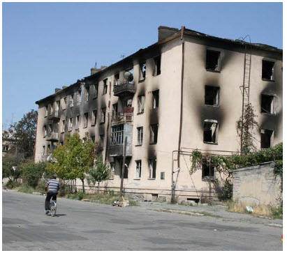 Shown here is Tskhinvali after Georgian artillery bombardment in 2008 when Russia invaded the South-Ossetian enclave of the former Soviet republic. (Photo: ИА ОСинформvs)