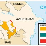 This map details the long-simmering dispute between Azerbaijan and Armenia over Nagorno-Karabakh, which reached the boiling point this autumn. (Photo: Marshall Bagramyan)