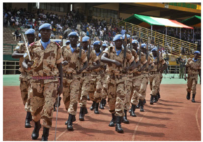 Calmer times: UN Peacekeepers from Chad march during the official inauguration of Mali's newly elected president, Ibrahim Boubacar Keîta, in Bamako. He's since been removed by a military junta. (Photo: MINUSMA/Marco Dormino)