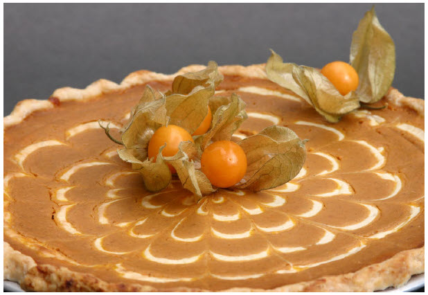 The touches of ginger, maple extract and Armagnac make this pumpkin pie a year-round delight. (Photo: Larry Dickenson)
