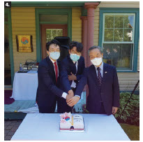 Korean Ambassador Keung Ryong Chang attended a ceremony marking the first anniversary of the opening of the Ottawa Korean Library, operated by the Korean Community Association of Ottawa. He's shown here, far right, with, from left, Kim Sang Tae and Jeon Wooju. (Korean Cultural Centre)