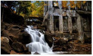 The Carbide Willson Ruins represent what's left of a fertilizer production complex beside a waterfall. (Photo: National Capital Commission)