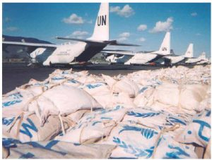 Dropping food out of planes is really a last resort in the fight against hunger and malnutrition, Joel Spicer says. Nutrition International, meanwhile, is working on new methods to fortify pulses as well as wheat flour, maize, rice, salt and edible oils. (Photo: U.S. department of state)