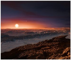 Planet Proxima Centuri b, shown here in an artist's rendering, orbits the red dwarf star Proxima Centauri, the closest star to Earth's solar system. (Photo: ESO/M. Kornmesser)