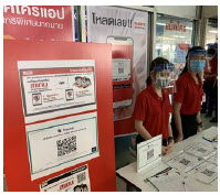 This supermarket in Bangkok requires visitors to scan a QR code before entering. Staff are doubly protected with face masks and shields. (Photo: chainwit)