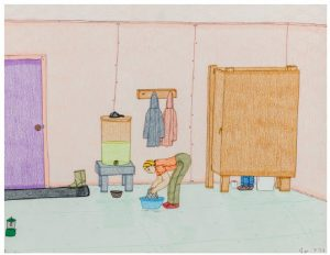 Everyday Life (coloured pencil and ink on paper, 2003) by Annie Pootoogook, at the Ottawa Art Gallery. (Photo: Ottawa Art Gallery)