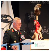Gen. Jonathan Vance, chief of defence staff, spoke on Indigenous Veterans Day at the Canadian War Museum, when the donated Normandy Warrior, a painting by Ottawa artist Elaine Goble, was unveiled. It's a tribute to Pte. Philip Favel's service with the Royal Canadian Army Service Corps in the Second World War, and his post-war efforts as an advocate for Indigenous veterans. (Photo: Ülle Baum)