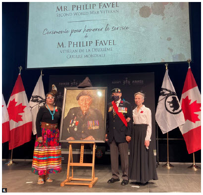 At the event, from left: Nadine Favel, granddaughter of Pte. Philip Favel, Second World War Veteran James Eagle and Goble. (Photo: Ülle Baum)