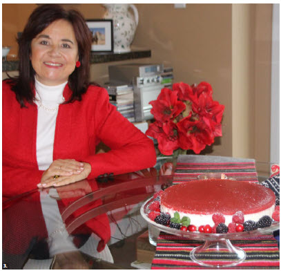 "Piret Lukk baked a strawberry cottage cheesecake and presented it as a contribution to iPolitics' holiday magazine for the ""diplomats' favourite holiday recipes"" section. (Photo: Ülle Baum)"