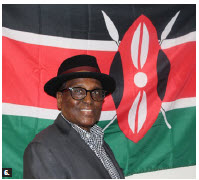 Kenyan High Commissioner John Lepi Lanyasunya celebrated Kenya's independence day virtually. Here the ambassador stands in front of the national flag. (Photo: Ülle Baum)