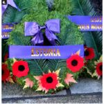 Due to COVID-19 restrictions, only 100 invited guests attended the Remembrance Day celebration in Ottawa and the wreaths left on behalf of the large diplomatic community in Ottawa were placed a day before at the National War Memorial. This wreath from the Embassy of Estonia was among them. (Photo: Ülle Baum)