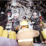 U.S. Air Force personnel work alongside civilian firefighters to remove rubble from the explosion site of the Federal Building in Oklahoma City in 1995. Anti-government extremist Timothy McVeigh carried out the bombing that killed 168 and injured 680 others. (Photo: Staff Sergeant Mark A. More)
