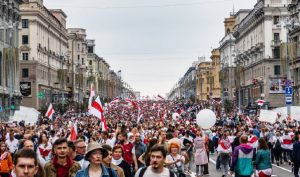 Belarusians have been taking to the streets — at their peril as protesting can result in fines and arrests — since the lead-up to the August 2020 election. This protest took place a couple of weeks after the highly questioned re-election of autocratic President Alexander Lukashenko. (Photo: CHECK!! Homoatrox)