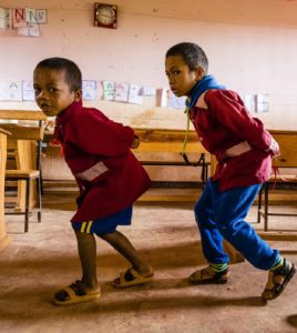 Grade 1 students who are part of the Madagascar School Project imitate animal walks in class. This year, 803 students are attending Tenaquip School. (Photo: MAdagascar school project)