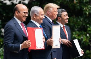 Then-Bahraini foreign minister Abdullatif bin Rashid Al-Zayani, Israeli Prime Minister Benjamin Netanyahu, then-U.S. president Donald Trump and UAE Foreign Minister Abdullah bin Zayed Al Nahyani take part in the signing of the Abraham Accords in 2020. (Photo: Official White House Photo by Joyce N. Boghosian)