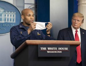 U.S. Surgeon General Jerome Adams urges citizens to wear masks in public at a coronavirus briefing in April 2020 at the White House. Mixed messages continued through the pandemic as officials educated themselves on the virus and the best ways to contain it. (Photo: Official White House Photo by Shealah Craighead)