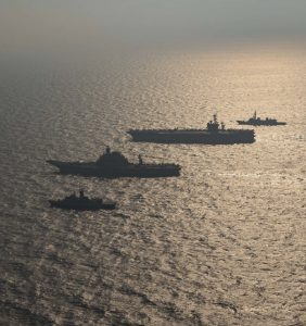 The Quad: Ships from the Australian Navy, Indian Navy, Japan Maritime Self-Defense Force and the U.S. Navy participate in Malabar 2020. Malabar 2020 was part of a continuing series of exercises that has grown in scope and complexity over the years to address the variety of shared threats to maritime security in the Indo-Asia Pacific. (Photo: Official U.S. Navy Page)