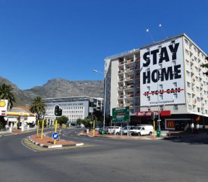 A billboard at the end of Long Street in South Africa's Cape Town encourages people to stay home during the lockdown period. (Photo: Discott)