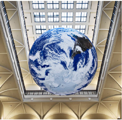 Gaia, by Luke Jerram now hangs in the atrium of the Museum of Nature. (Photo: Martin Lipman, Canadian Museum of Nature)