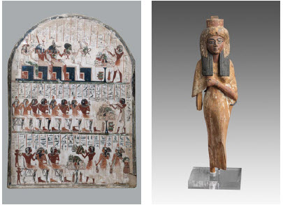 A funerary stelae, left, discovered in the tomb of the Deir el-Medina, and a figurine of Ahmose-Nefertari, from Queens of Egypt at the Canadian Museum of History. (Photo: Museo Egizio, Turin, Italy)