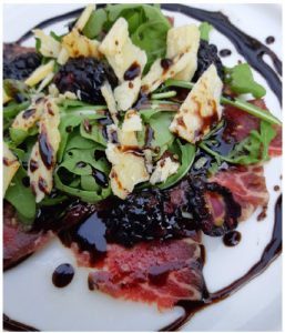 Extraordinary Beef Carpaccio with Sesame-Balsamic Syrup Drizzle is a crowd pleaser. (Photo: Margaret Dickenson)